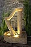 Gartenbrunnen Harfe Design Springbrunnen mit LED Beleuchtung Zierbrunnen NEU