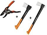 Gartenpaul Set: FISKARS Spaltaxt X17 - M + FISKARS Spaltaxt X11 - S + GARTENPAUL Gartenschere Amboss R1