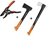 Gartenpaul Set: FISKARS Spaltaxt X17 - M + FISKARS Universalaxt X10 - S + GARTENPAUL Gartenschere Amboss R1