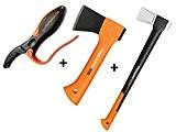 Gartenpaul Set: FISKARS Spaltaxt X17 - M + FISKARS Universalaxt X5 - XXS + GARTENPAUL Axt- und Messerschärfer