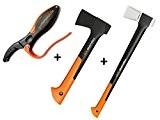 Gartenpaul Set: FISKARS Spaltaxt X17 - M + FISKARS Universalaxt X7 - XS + GARTENPAUL Axt- und Messerschärfer