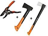 Gartenpaul Set: FISKARS Spaltaxt X17 - M + FISKARS Universalaxt X7 - XS + GARTENPAUL Gartenschere Amboss R1