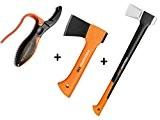 Gartenpaul Set: FISKARS Spaltaxt X21 - L + FISKARS Universalaxt X5 - XXS + GARTENPAUL Axt- und Messerschärfer