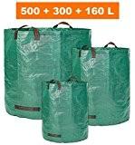 Gartensack - 3 Verschiedene Größen im Set 500ltr, 300ltr und 160ltr - Gartenabfallsack und Laubsack extra robust - faltbar selbststehend ...