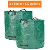 Gartensack XXL - 2 Profi Gartenabfallsäcke - je 500 Liter mit Doppeltem Robusten Boden - Laubsack - Selbststehend Premiumqualität