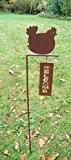 Gartenstab, Gartenstecker, Welcome, Willkommen, Eisen, Huhn/Hahn,Rost,