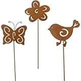 Gartenstecker Gartenfigur Metall Rostoptik Vogel-Schmetterling Blume • 3 verschiedene Motive zur A U S W A H L • je ...