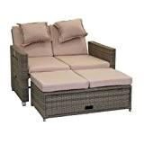 greemotion Bahia Sofa Twin 429106, Love Seat aus Stahl und Polyethylengeflecht, die Rückenlehne ist stufenlos verstellbar, inkl. 8 Nacken- und ...