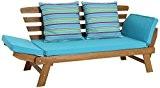 greemotion Multifunktionsbank Borkum 123129, Holzbank für den Indoor- und Outdoorbereich, die Liege ist FSC-zertifiziert, das Holzsofa hat ausklappbare Seitenteile, welche ...