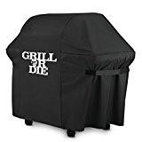 GRILL OR DIE® GT60 Grillabdeckung für Weber Genesis Gasgrill ★ schwarz mit Aufdruck in Premium-Qualität ★ BBQ Grill Schutzhülle - ...