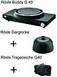 Grillset Rösle Buddy G40, schwarz Garglocke Abdeckhaube Tragetasche/Hülle Set
