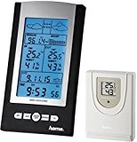 Hama Funk Wetterstation EWS-800 (Funkuhr, Thermometer, Hygrometer und Barometer, inkl. Außensensor mit 30m Reichweite), schwarz