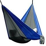 Hängematte Camping Hammock Single/Double Parachute, leicht und tragbar, mit extra Schlafaugenmaske Augenbinde Blindfold für für Outdoor/Camping/Reisen (Single, Grau/Blau)