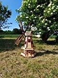 Hochwertige Windmühle wetterfest, kugelgelagert, Gartenwindmühle 100 cm, zweistöckig MIT 2 BALKONEN, garten windmühlen, Windfahne / Windrad o. SOLAR o. Außenbeleuchtung ...
