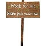 """Holz Garten Zeichen """"Unkraut für Verkauf Bitte wählen Sie Ihre eigenen"""""""