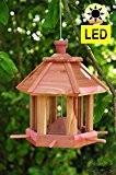Holz-Vogelhaus,Futterhaus-Futterstation,mit Beleuchtung Garten,mit LED-Licht Laterne /Vogelhaus,Futterhaus-Futterstation,mit Beleuchtung Garten,wetterfest PINK / PINK,BEL-pink,PREMIUMVogelhaus,Futterh