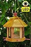 Holz-Vogelhaus,Futterhaus-Futterstation,mit Beleuchtung Garten,mit LED-Licht Laterne /Vogelhaus,Futterhaus-Futterstation,mit Beleuchtung Garten,wetterfest GELB,Zeder - Holz,BEL-gelb,PREMIUMVogelhaus,F