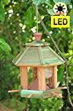 Holz-Vogelhaus,Futterhaus-Futterstation,mit Beleuchtung Garten,mit LED-Licht Laterne /Vogelhaus,Futterhaus-Futterstation,mit Beleuchtung Garten,wetterfest MEERESBLAU (ANTIKBLAU),BEL-türkis,PREMIUMVoge