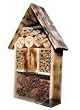 Insektenhotel gebrannt geflammt, schwarz natur Deko, komplett mit Schmetterlingshaus, Insektenhaus, Insekten, Insektenhäuschen - biologischer ökologischer natürlicher Pflanzenschutz - ökologische biol
