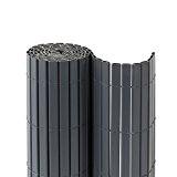 JAROLIFT Premium PVC Sichtschutzmatte / Sichtschutzzaun 180 x 1000cm (2x 5m Länge), grau