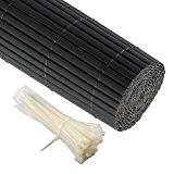 JAROLIFT PVC Sichtschutzzaun, Sichtschutz-Matte 160 x 300cm, grau inkl. 50 Kabelbinder, transparent
