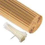 JAROLIFT PVC Sichtschutzzaun, Sichtschutz-Matte 90 x 600cm (2x 3m Länge), bambus inkl. 100 Kabelbinder, transparent