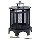 Kamino Flam Feuerstelle Thalia 481551, Kamin für Garten oder Terrasse, emailliertes Stahlgestell mit Netzgitter, Vermeidung von Funken- und Ascheflug, Feuertonne ...