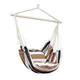 Kinlo stabil Aufhängung Hängesessel Hängestuhl mit Spreizstab, 2 Kissen, für balkon Garten outdoor und indoor, bunt streift