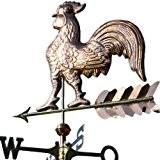 Kupfer Wetterhahn auf Pfeil Motivgröße: 63 x 60 cm inkl. Windrose und 2 Kupferkugeln ca. 5 kg aus poliertem Kupfer. ...