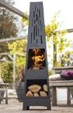 La Hacienda Moderner 150 cm, Oxford-Kamin aus Stahl mit Holz, für Terrassen-Heizstrahler, schwarz