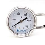 Lantelme 5832 Grillthermometer mit Fühler 175 cm. Wasserdicht aus Edelstahl. Analog und Bimetall Ausführung