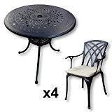 Lazy Susan - ANNA 80 cm Runder Gartentisch mit 4 Stühlen - Gartenmöbel Set aus Metall, Antik Bronze (APRIL Stühle, ...