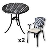 Lazy Susan - BETTY Bistrotisch mit 2 Stühlen - Rundes Gartenmöbel Set aus Metall, Antik Bronze (APRIL Stühle, Beige Kissen)