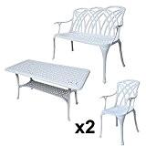 Lazy Susan - CLAIRE Rechteckiger Garten Beistelltisch mit 1 APRIL Gartenbank und 2 APRIL Stühlen - Gartenmöbel Set aus Metall, ...