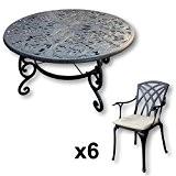 Lazy Susan - JOYCE 135 cm Runder Gartentisch mit 6 Stühlen - Gartenmöbel Set aus Metall, Antik Bronze (APRIL Stühle, ...