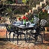 Lazy Susan - JUNE 150 x 95 cm Ovaler Gartentisch mit 6 Stühlen - Gartenmöbel Set aus Metall, Antik Bronze ...