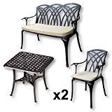 Lazy Susan - SANDRA Quadratischer Kaffeetisch mit 1 APRIL Gartenbank und 2 APRIL Stühlen - Gartenmöbel Set aus Metall, Antik ...