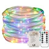 LE 120er RGB LED Lichterschlauch 10M Mehrfarbig Batteriebetriebe lampe 8 Modi mit Memory-Funktion für Innen Außen Party Weihnachten Dekolicht