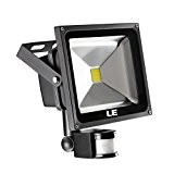 LE 30W Fluter mit Bewegungsmelder LED Strahler ersatzt 75W HPS, 2100lm, Kaltweiß, 6000 K, Wasserfest, 120° Abstrahlwinkel, sensor außenleuchten, LED ...