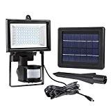 LE LED Fluter, Solarleuchte mit Bewegungsmelder, 60 LEDs, Kaltweiß 6000 Kelvin, Flutlicht Strahler für Veranda Garten Garagenhof, Aussenbeleuchtung