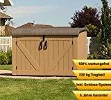 Lifetime XXL Kunststoff Mülltonnenbox, Gerätebox, Aufbewahrungsbox Braun // BxTxH 190x108x132cm // Gartengerätebox für Mülltonnen