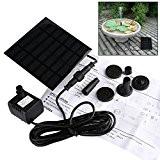Liqoo® Solar Pumpe Springbrunnen Teichpumpe für Garten , Wasserpumpe für Miniteich mit 4 Verschiedenen Düsen , 180 L / h ...