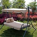 Luxus Loywe Hollywoodschaukel Gartenschaukel mit Bettfunktion LW51BeigeNew