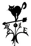 Metall Deko Wetterfahne Katze schwarz Kugellager hochwertig