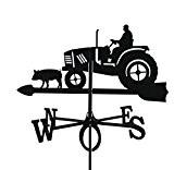 Metall Deko Wetterfahne Traktor schwarz großes Format