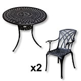 Mia 90cm rundes Tischset - 1 Mia Tisch + 2 APRIL Stühle