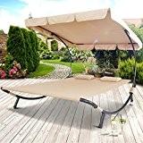Miadomodo Doppelliege Sonnenliege mit Sonnendach Gartenliege ca. 200 x 173 x 148cm für bis zu 2 Personen