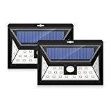 Mpow 2 Stück 24 LED Solarleuchten Weitwinkel LED Solar Wandleuchte Außen Solar Betriebene Außenleuchte, Wandleuchte, Energiesparende Wasserdichte 3 Modi Sicherheit ...