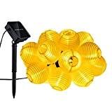 Mpow 20er Solar LED Lichterkette Lampion Innen- und Außenbereich Sommerlichterkette Solarbetrieben Gartenbeleuchtung Wasserfeste Weihnachtsbeleuchtung Warmweiß für Garten, Terrasse, Hof, Haus, ...