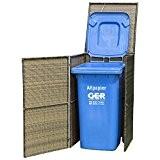 Mülltonnenbox gross für Tonnen bis 240 Liter, 76x78x123cm, Stahl + Polyrattan Geflecht mocca